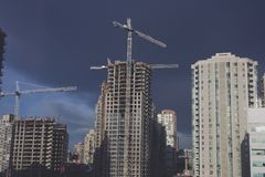 Hirise Construction. Hirise buildings under construction in Vancouver Stock Photography