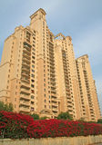 Hirise penthouse luxury India. Spring Flowers under Hi rise  luxury apartment block in Call centre and software hub, Gurgaon India Stock Photos