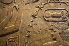 Hiéroglyphes de l'Egypte en vallée des rois Photos libres de droits