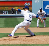 Hiroki Kuroda. Japanese Pitcher Hiroki Kuroda pitches against the Pittsburg Pirates at Dodger's Stadium, October 2009 Stock Photo