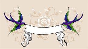 Hirondelle avec le ruban illustration stock