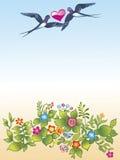 Hirondelles et fleurs volantes Image stock