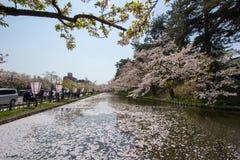Hirosaki Cherry Blossom Festival 2018 no parque de Hirosaki, Aomori, Tohoku, Japão em abril 28,2018: Vistas espetaculares do foss Fotos de Stock Royalty Free