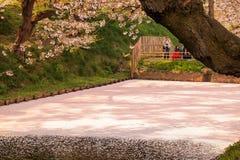 Hirosaki Cherry Blossom Festival 2018 no parque de Hirosaki, Aomori, Tohoku, Japão em abril 28,2018: Vistas espetaculares do foss Foto de Stock Royalty Free