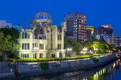 Hiroshima Atomic Bomb Dome Genbaku, Japan. Hiroshima Atomic Bomb Dome Genbaku at night, UNESCO World Heritage Site, near the Hiroshima Peace Memorial at the blue royalty free stock photography