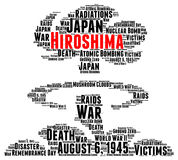 Hiroshima atomic bombing word cloud concept. Illustration Stock Image