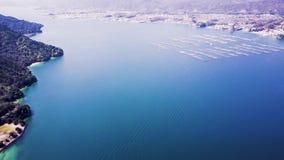 Hiroshima-Auster bewirtschaftet Luft-Ansicht 4k stock video