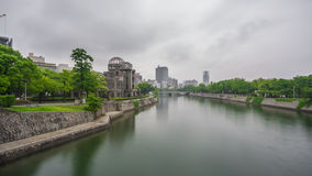 Hiroshima Bomb Dome and river in Japan. Wide angle view of Hiroshima Bomb Dome and river, Japan Stock Photos