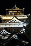 Hiroshima Castle. Night picture of the Hiroshima Castle, Japan. Lights are visible from inside Stock Image