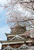 Hiroshima Castle with Cherry Blossom Royalty Free Stock Images