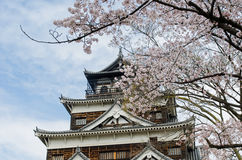 Hiroshima Castle with Cherry Blossom Stock Photography