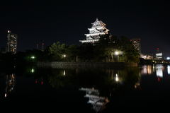 Hiroshima castle. Night time photo of Hiroshima castle in Japan stock images