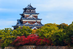 Hiroshima Castle. On the side of Otagawa river in autumn Stock Photography