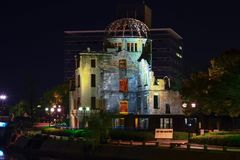 Hiroshima city in Chugoku region of Japan Honshu Island. Famous atomic bomb dome. View on the atomic bomb dome in Hiroshima Japan. UNESCO World Heritage Site royalty free stock images