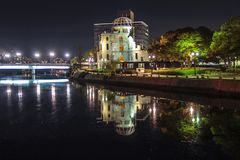 Hiroshima city in Chugoku region of Japan Honshu Island. Famous atomic bomb dome. View on the atomic bomb dome in Hiroshima Japan. UNESCO World Heritage Site royalty free stock photo
