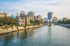Hiroshima cityscape with the Atomic Dome memorial ruins.  Royalty Free Stock Images