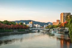Hiroshima Cityscape at sunset in Hiroshima, Japan. royalty free stock image