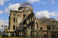 HIROSHIMA, JAPAN - APRIL 01, 2019: Atomic Bomb Dome or A-bomb dome Genbaku Dome-mae , a part of the Hiroshima Peace Memorial royalty free stock photo