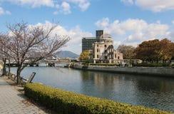 HIROSHIMA, JAPAN - APRIL 01, 2019: Atomic Bomb Dome or A-bomb dome Genbaku Dome-mae , a part of the Hiroshima Peace Memorial. Park in Hiroshima, Japan royalty free stock photography