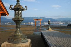Hiroshima, Japan - August 11, 2017: The street view of Miyajima in the early morning in Hiroshima, Japan. Stock Photo
