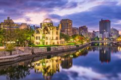 Hiroshima, Japan City Skyline. At dusk with the Atomic dome royalty free stock images