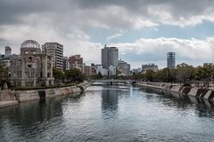 HIROSHIMA, JAPAN - FEB 05, 2018: Genbaku atomic bomb dome and Hiroshima peace memorial. At daytime stock photo