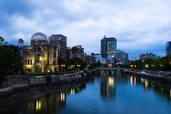 Hiroshima, Japan illuminated at night Stock Images