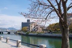 Hiroshima, Japan - May 2017: Atomic Dome near Ota River  in Hiroshima Peace Memorial Park, Japan on May 2017 Royalty Free Stock Photography