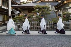 Hiroshima, Japan -  May 27, 2017: Priests in traditional clothe Royalty Free Stock Photo