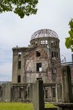 Hiroshima, Japan - May 25, 2017:  The skeletal ruins of the form. Er Hiroshima Prefectural Industrial Promotion Hall, the A-Bomb Dome Royalty Free Stock Images