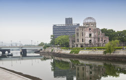 HIROSHIMA, JAPAN- MAY 27:View on the atomic bomb dome in Hiroshima Japan. UNESCO World Heritage Site on May 27,2016. View on the atomic bomb dome in Hiroshima Royalty Free Stock Image