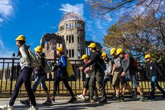 A-Bomb Dome and children stock photos