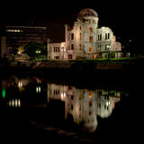 Hiroshima Peace Dome night with reflection Royalty Free Stock Photography