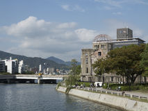 Hiroshima Peace Memorial as seen from Ota river bank Stock Photography