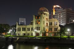 Hiroshima peace memorial building at night royalty free stock photos