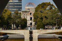 Hiroshima Peace Memorial - Genbaku Dome. The Hiroshima Peace Memorial Genbaku Dome originally the Hiroshima Prefectural Industrial Promotion Hall, and now stock photos