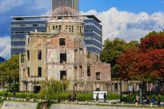 Hiroshima Peace Memorial (Genbaku Dome). Hiroshima, Japan - November 15 2013: Hiroshima Peace Memorial declared a UNESCO World Heritage in 1996, as a memorial to stock photos