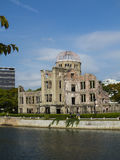 Hiroshima Peace Memorial from Ota river bank Royalty Free Stock Photography