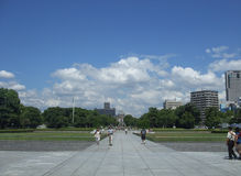 Hiroshima Peace Memorial Park. HIROSHIMA, JAPAN - AUGUST 21, 2012: People visiting the Peace Memorial Park for the victims of atomic bombing Royalty Free Stock Photography