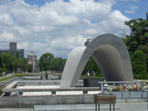 Hiroshima Peace Memorial Park. HIROSHIMA, JAPAN - AUGUST 21, 2012: People visiting the Peace Memorial Park for the victims of atomic bombing Royalty Free Stock Photo