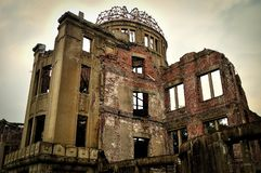 Hiroshima Peace Memorial on a cloudy day royalty free stock photo