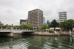 Hiroshima Skyline and the Ota River in Japan. Stock Photos
