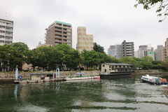 Hiroshima Skyline and the Ota River in Japan. Stock Image