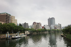 Hiroshima Skyline and the Ota River in Japan. Stock Photo