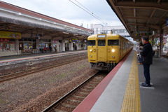 The Hiroshima train station. HIROSHIMA, JAPAN - DEC 15,2016 : The Hiroshima train station is the main transportation to Itsukushima shrine where is the ancient Royalty Free Stock Image