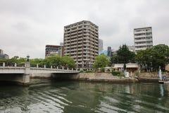Hiroszima linia horyzontu i Ota rzeka w Japonia Zdjęcia Stock
