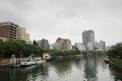 Hiroszima linia horyzontu i Ota rzeka w Japonia Zdjęcie Stock