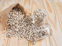 Hirs i exponeringsglas och säck på wood bakgrund Royaltyfria Foton