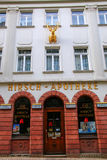 Hirsch Deer Pharmacy in historic town center of Wiesbaden, Hes. Se, Germany. Wiesbaden is one of the oldest spa towns in Europe Royalty Free Stock Photo