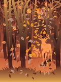 Hirsch im Herbstwald Stockbild